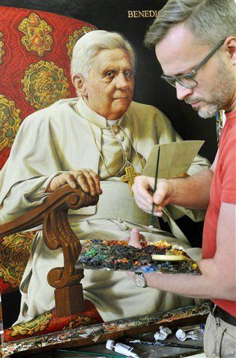 Artist Michael Triegel known as 'Pope painter' works on his second portrait of Pope Benedict XVI in his studio in Leipzig, Germany, Tuesday, Feb. 19, 2013. The one meter high and 72 centimeter wide portrait is a commissioned work for the German Embassy at the Holy See in Rome. It is supposed to be delivered as a loan to Rome on the pope's birthday on 16 April 2013. (AP Photo/dpa, Waltraud Grubitzsch)