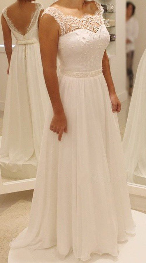 A Line Square Floor Length Chiffon Wedding Dress With Lace Beading