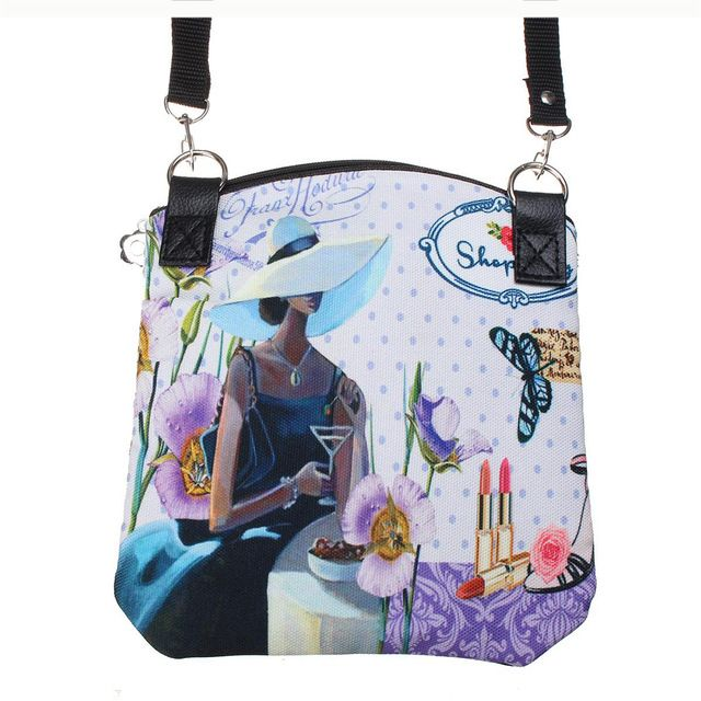 e430f880a680 Women Messenger Bags Vintage Canvas Printing Small Satchel Shoulder  European Style Girls Handbag Lady Crossbody Bag Black 19-in Underwear from  Mother   Kids ...