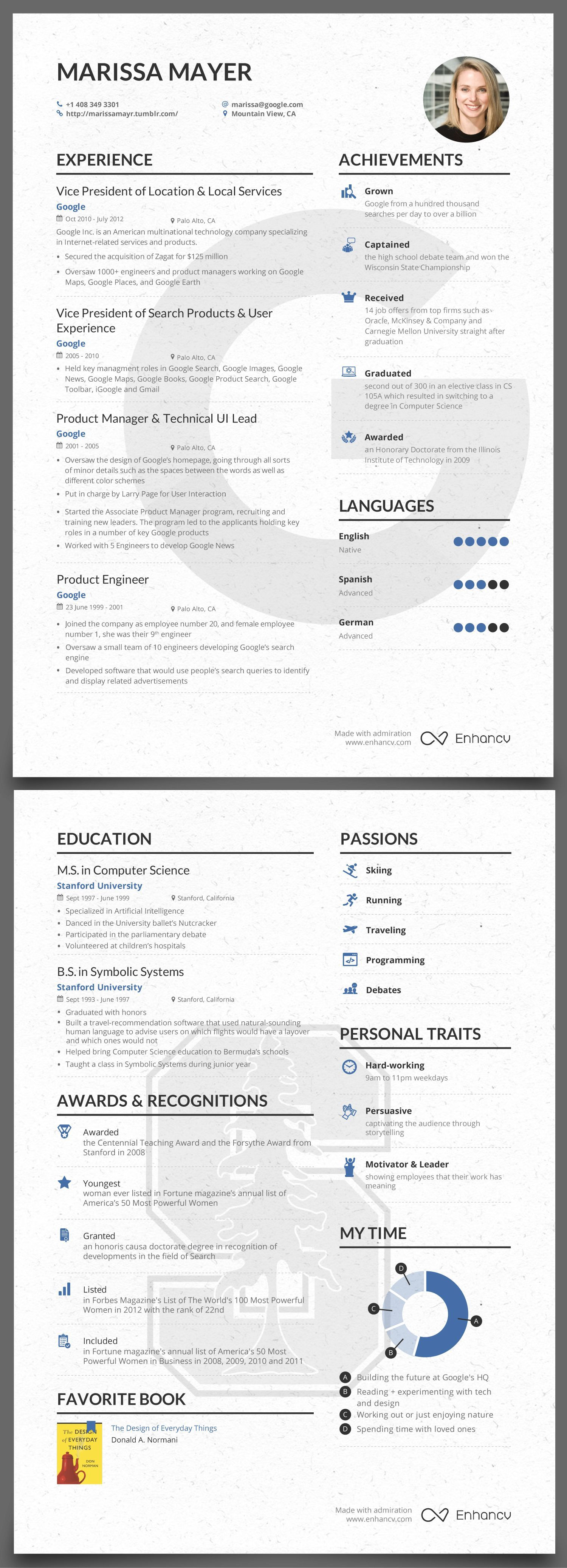 The Success Journey Marissa Mayer S Pre Yahoo Resume Resume Writing Examples Teaching Resume Examples Infographic Resume