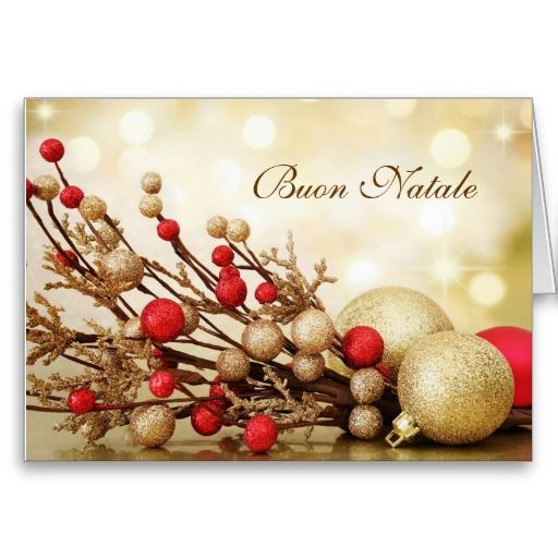 Italian Christmas Music.Red Gold Baubles Italian Christmas Greeting Card Italian