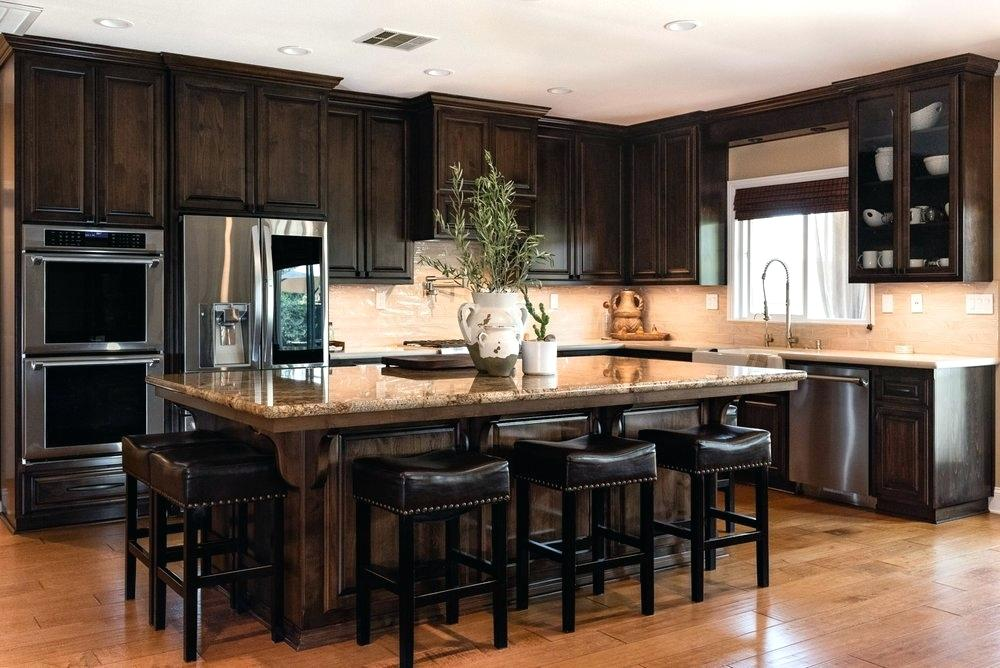 Traditional L Shaped Kitchen With Dark Wood Stained ...