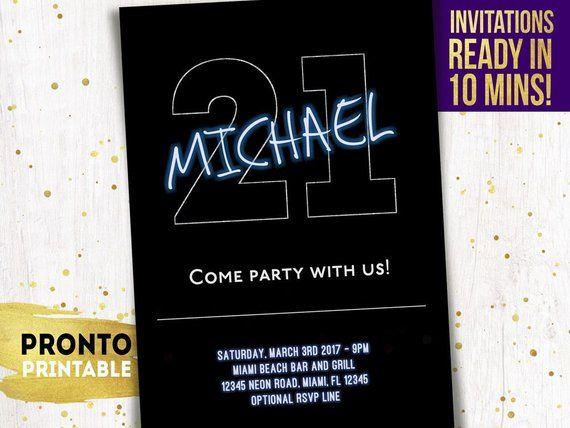 21st Birthday Invitations Guy For Him Party Invites