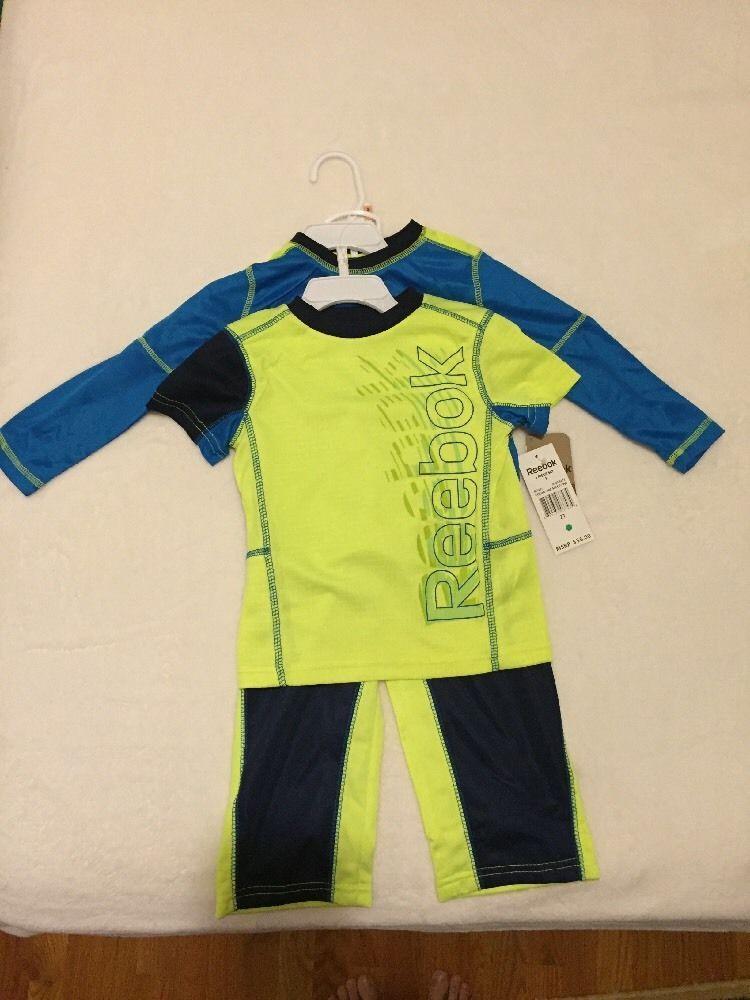 NWT Reebok Boys' 3piece Activewear Set Yellow/ Blue Size