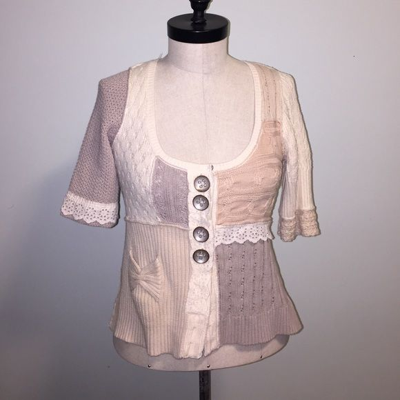 HWR Knit Patchwork Sweater EUC! Colors: light pink, grey, cream and white! Very whimsical! Anthropologie Sweaters
