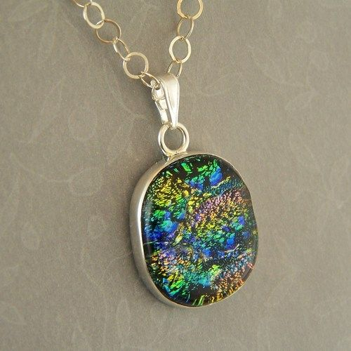 Green pink blue dichroic glass pendant sterling silver setting green pink blue dichroic glass pendant sterling silver setting chain 68 silvertree aloadofball Gallery
