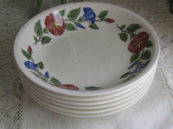 Shenandoah Ware, Made in USA, Cottage Morning Glory Cereal, Soup or Salad Bowls, Vintage 6pc Set, Gift For Her