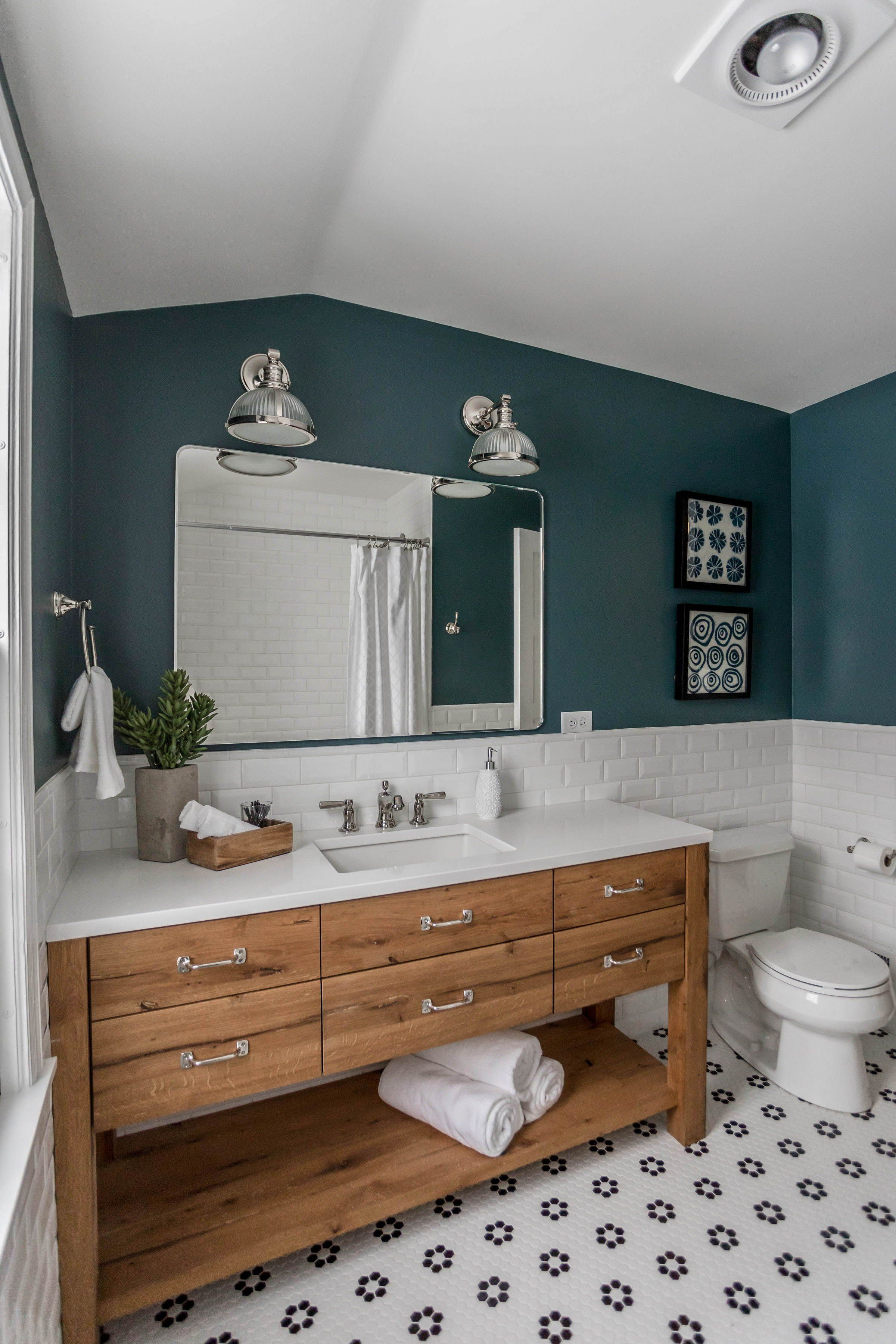 Reclaimed Wood Custom Vanity Black And White Tile Subway Tile