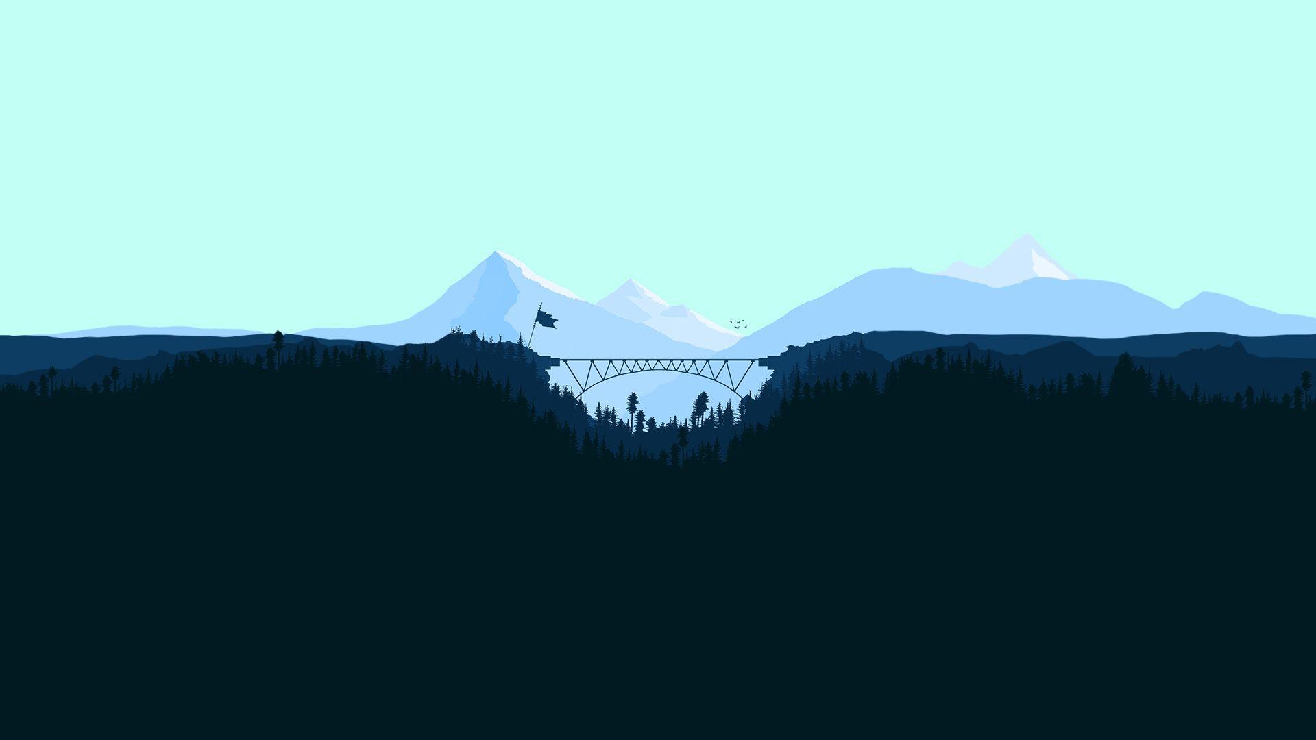 Minimalist Bridge Between Mountains 1920x1080 Hd Wallpaper Wallpaper Desktop Wallpaper
