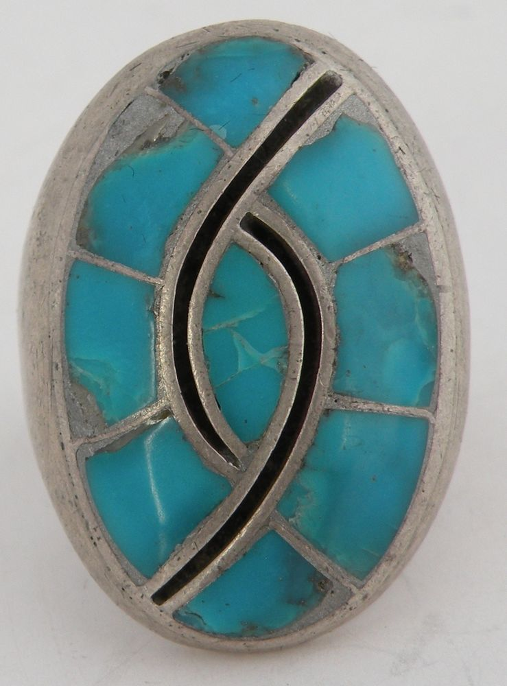 Vintage Native American Navajo HUGE Blue Turquoise inlay Sterling silver ring