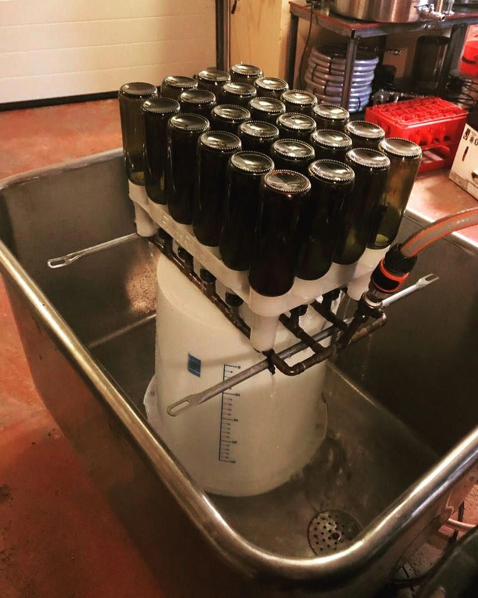 When bottles are clean from recirculating warm PBW i