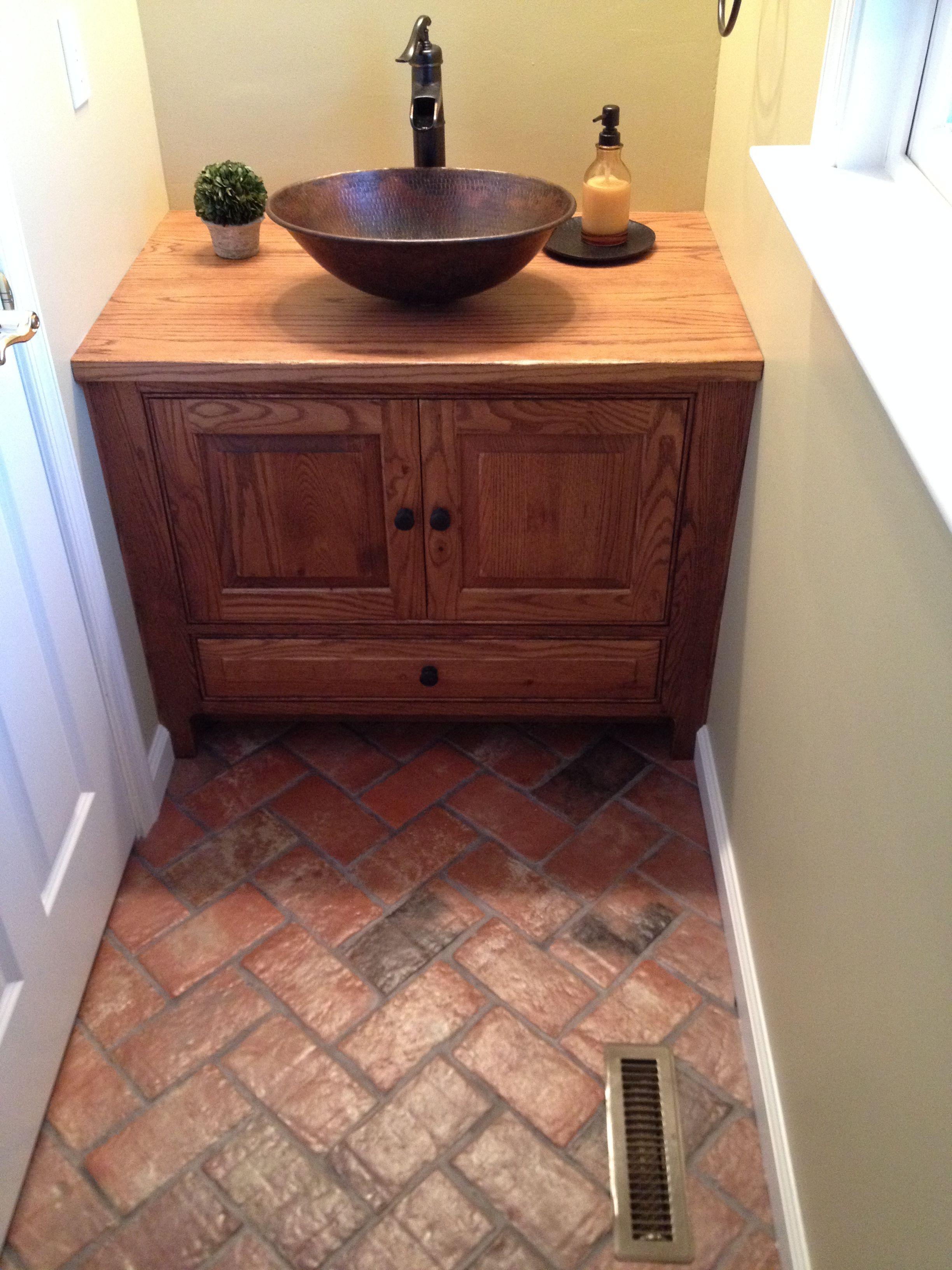 Wright S Ferry Brick Tile Powder Room Floor Marietta Color Mix With A Shiny Sealer Brick Tiles Bathroom Brick Bathroom Brick Tiles