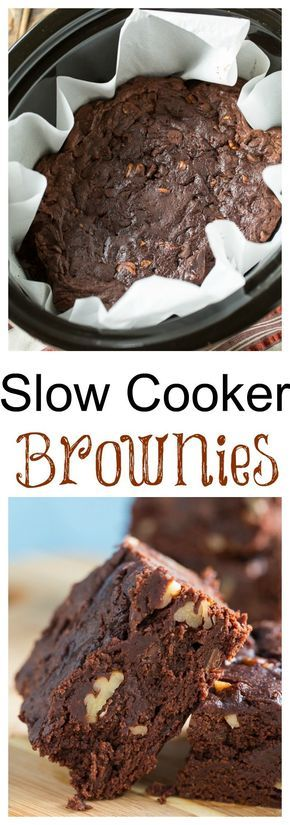 Slow Cooker Triple Chocolate Brownies with pecans.