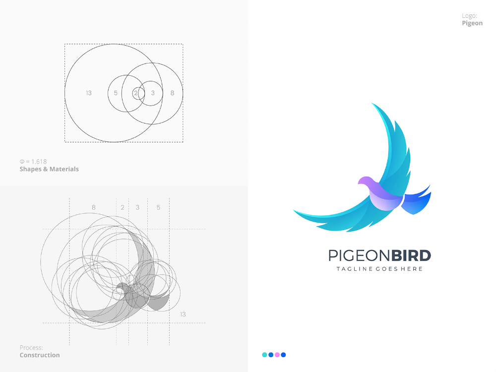 Pigeon Logo With Golden Ratio Golden Ratio Logo Golden Ratio In Design Animal Logo