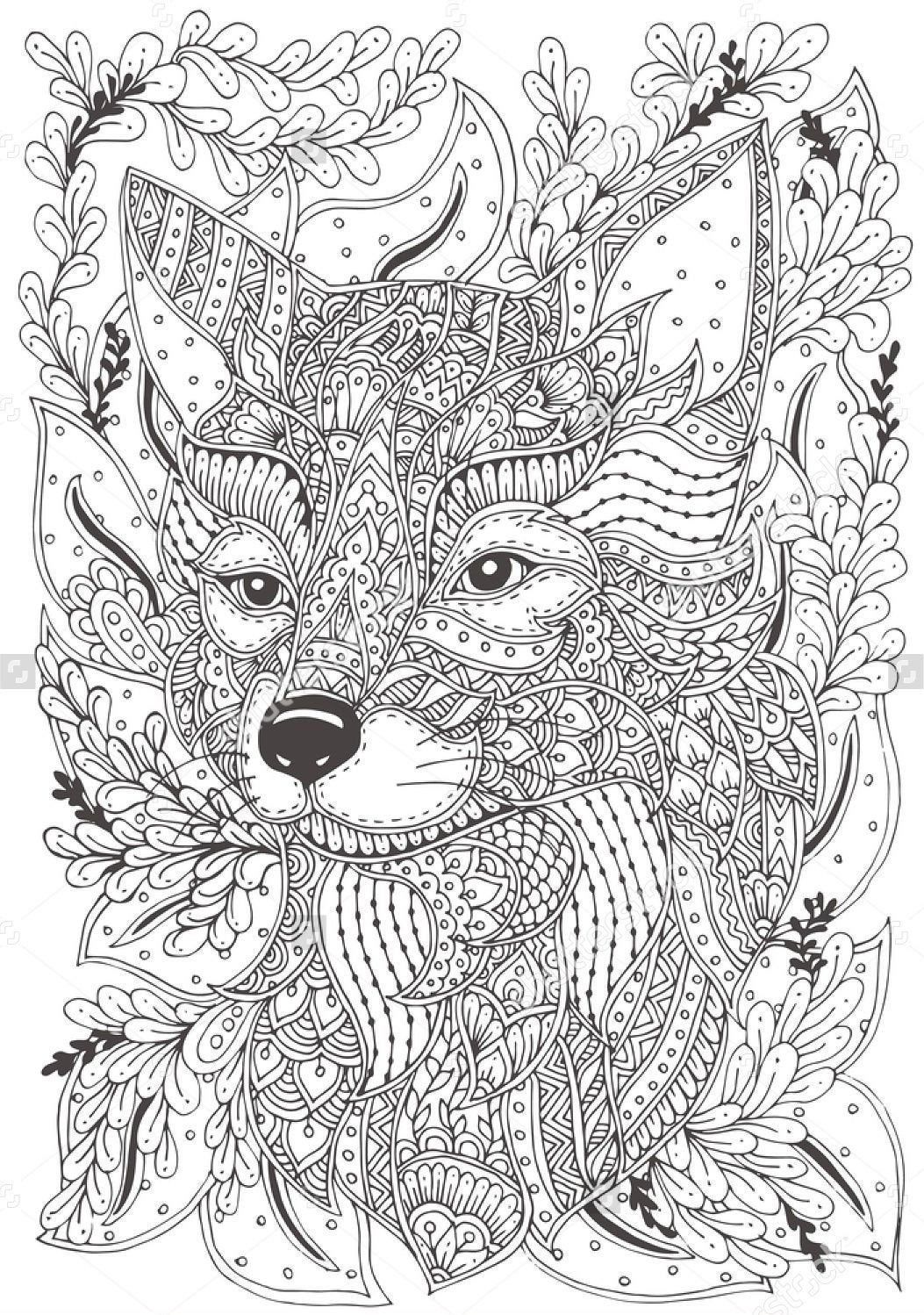 Coloring Painting Canvas 8x11 Inches Or Etsy In 2021 Animal Coloring Pages Pattern Coloring Pages Fox Coloring Page