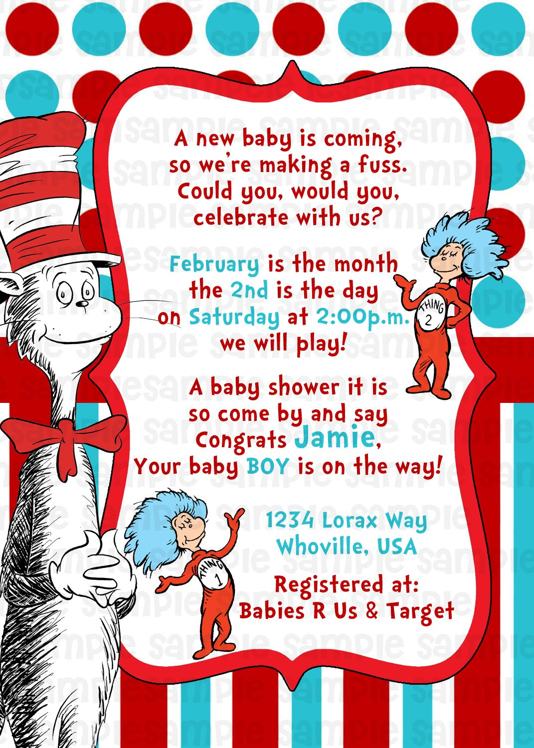 Dr Suess Cat in the Hat Baby Shower Invitation 11 Dr Suess