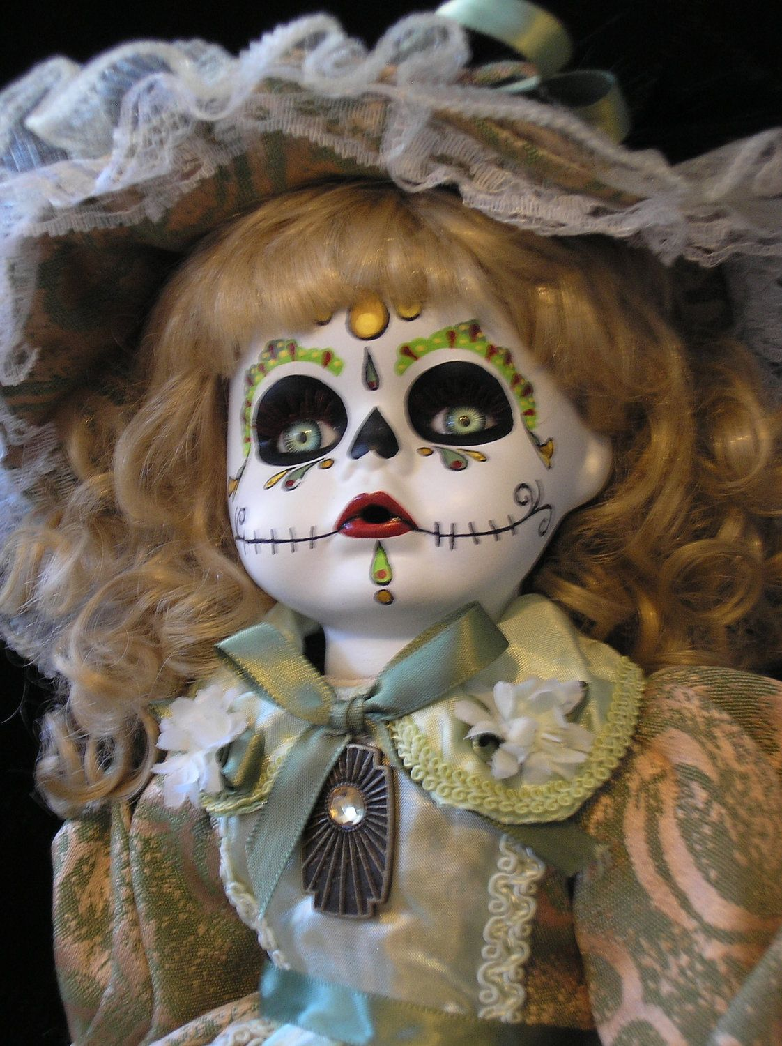 Hand Painted Day of the Dead Sugar Skull Porcelain Doll No.4