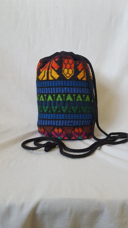 Cinch Bag, Colorful Cotton Purse, Hippie Purse, Vintage