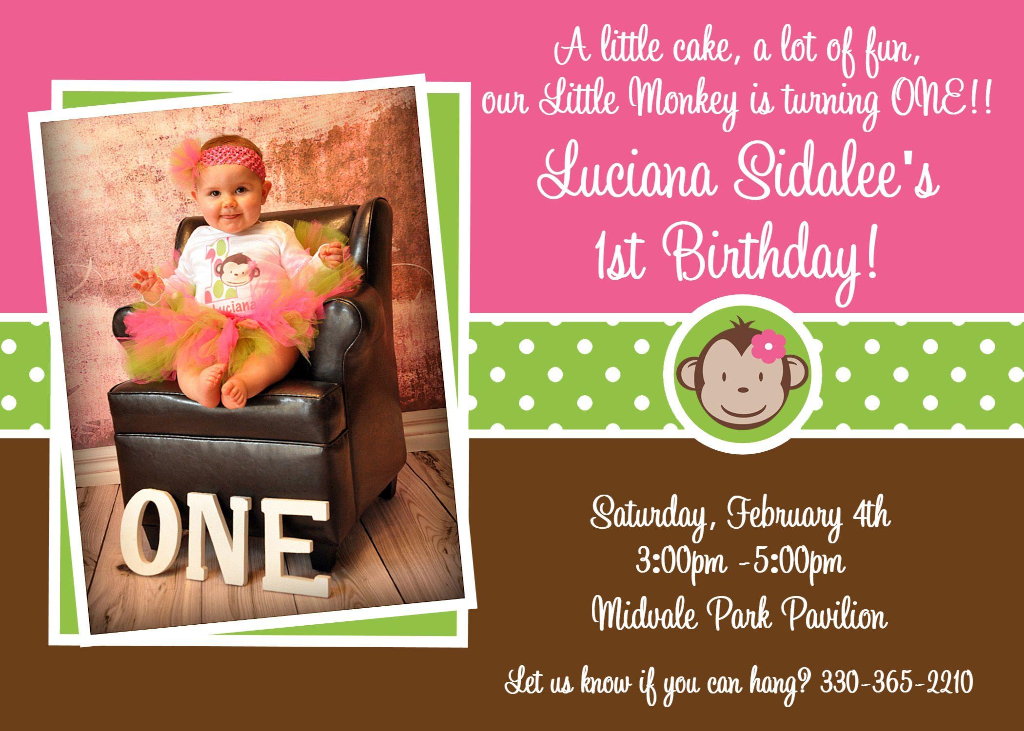 1st birthday girl monkey | Printable Birthday Invitations, Girls Mod ...