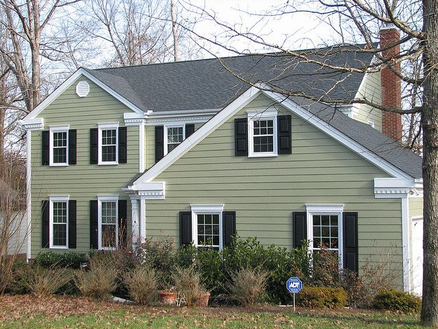 Hardiplank Colorplus Siding In Color Heathered Moss And Vinyl Shutters Green House Exterior House Paint Exterior Cottage Exterior