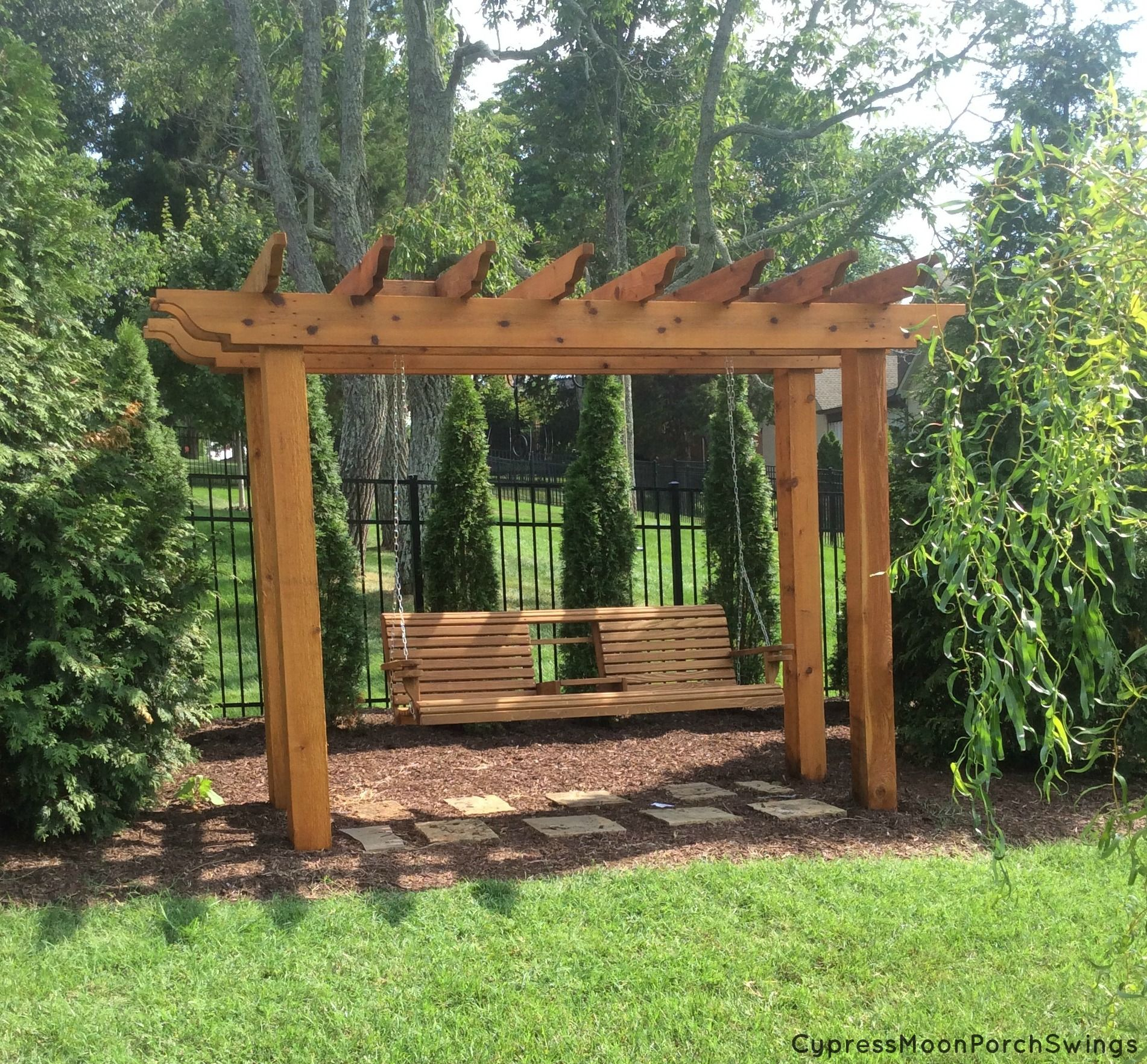 Awesome Porch Swing Gazebo Featuring Cypress Moon