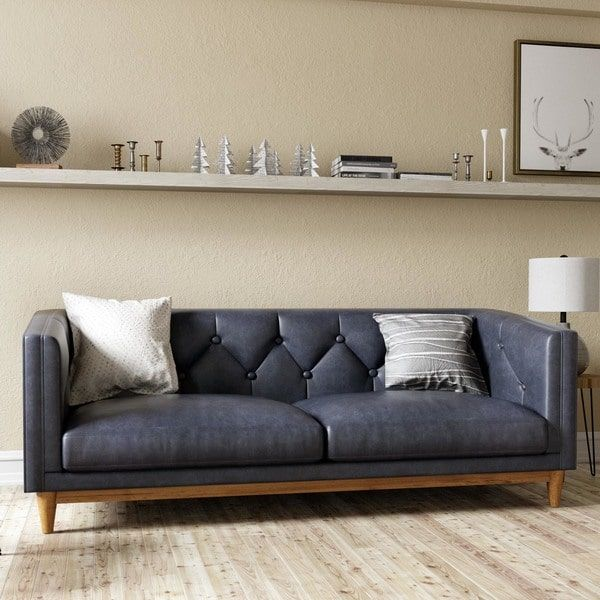 Natty Black On Tufted Leather Sofa Ping The Best Deals Sofas Loveseats