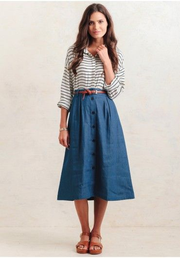 Going For A Walk Chambray Midi Skirt   Modern Vintage New Arrivals   Ruche