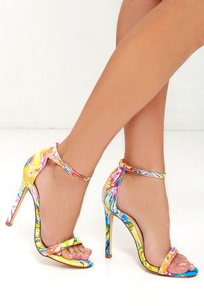 VIP Ticket Multi Print Ankle Strap Heels at Lulus.com!