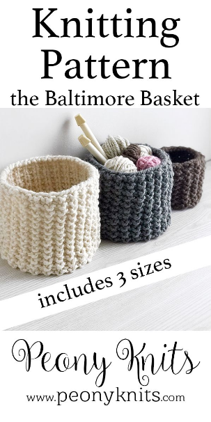 Easy Knit Basket Pattern Easy pattern for knitted baskets Pattern includes small medium and large basket Knitting pattern available on peonyknits The Effective Pictures We Offer You About knitting #basket #pattern