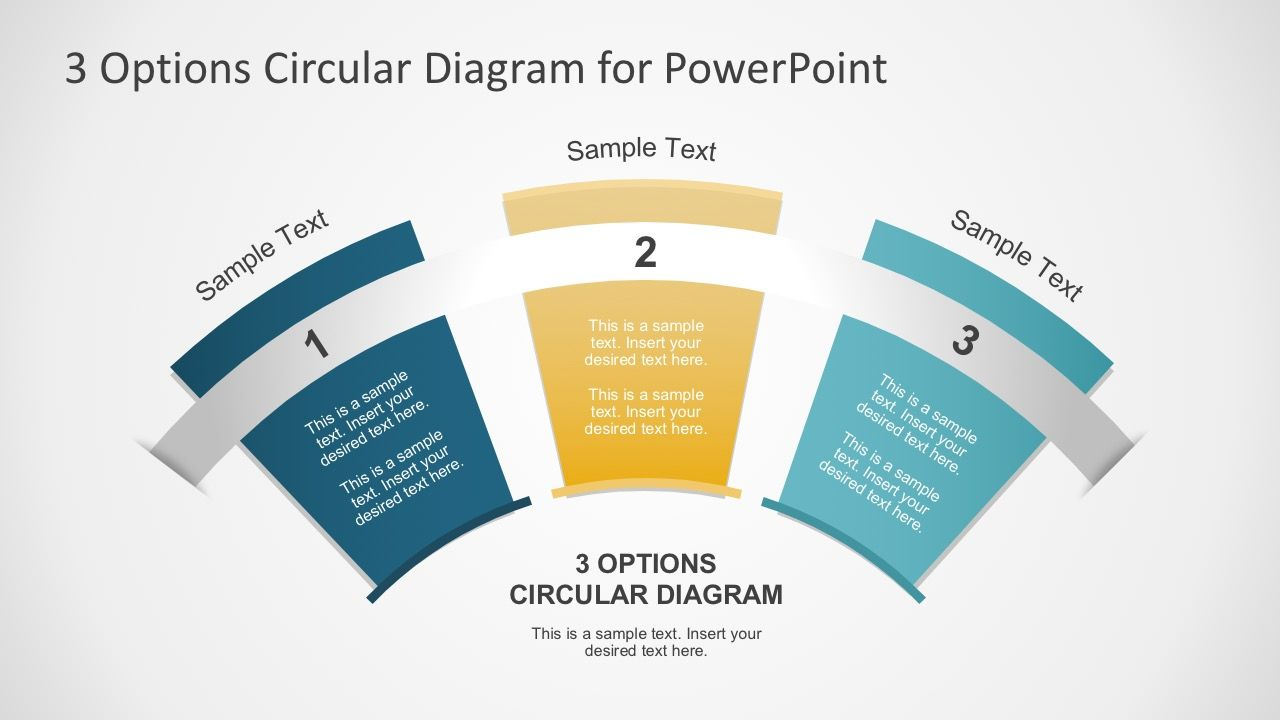 3 options circular fan diagram for powerpoint template