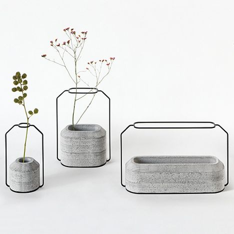 Concrete Weight Vases by Decha Archjananun.