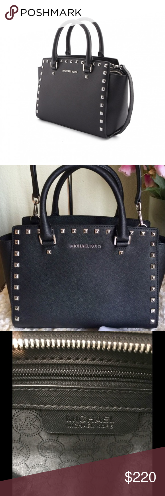7c60b062aed3 💯Authentic Michael Kors Selma Studded Satchel Michael Kors Studded Medium Leather  Satchel in Black