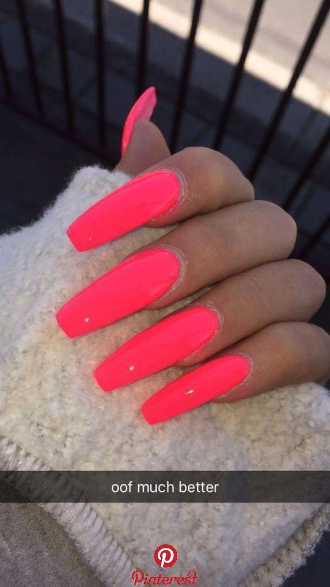 9 Dazzling Summer Nail Art Designs 2019 Neon Hot Pink You Must Copy Coral Acrylic Nails Best Acrylic Nails Acrylic Nails