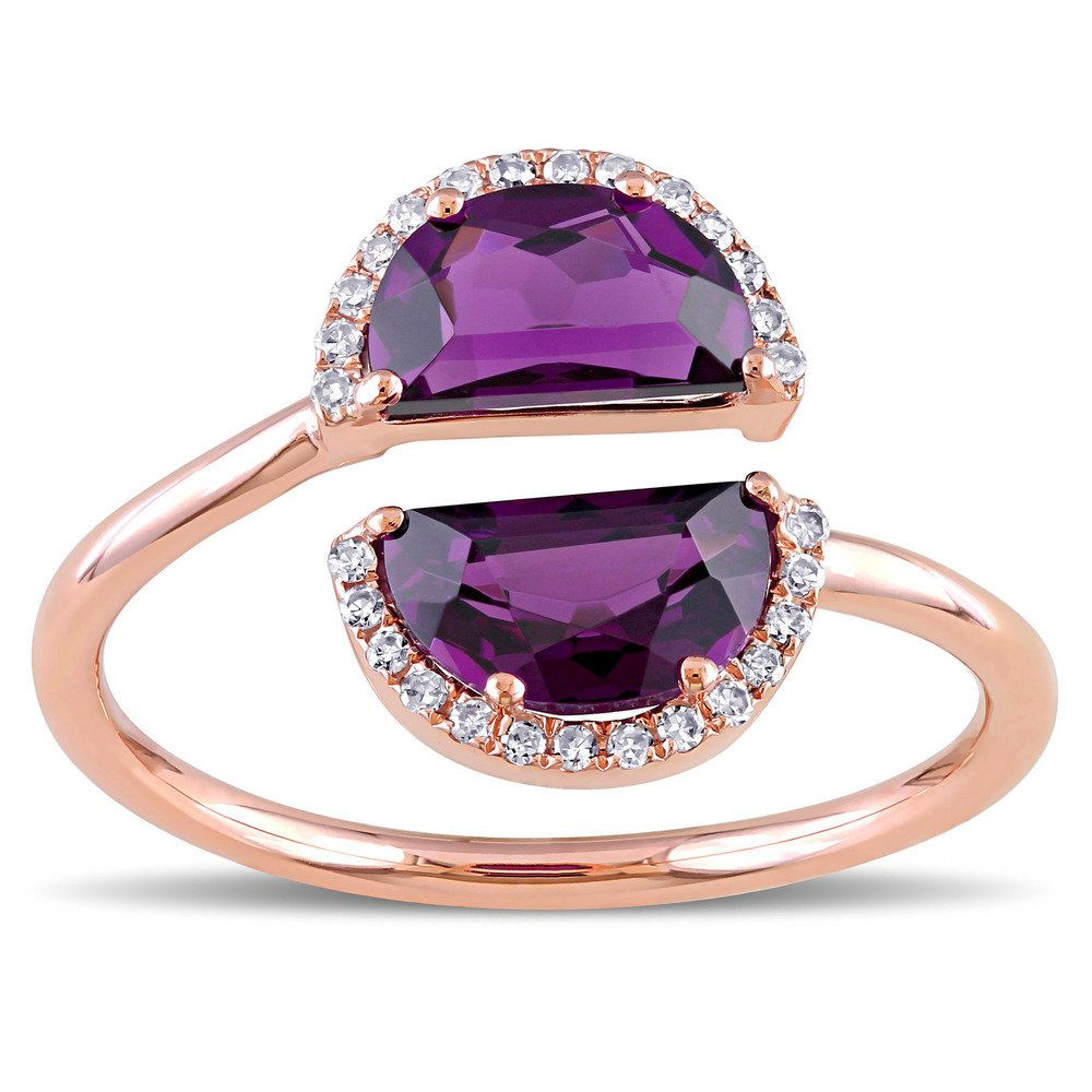 Miadora signature collection 14k white gold 1ct tdw diamond double row - Shop For Rhodolite Garnet And Tdw Diamond Half Moon Bypass Ring In Rose Gold By The Miadora Signature Collection Get Free Delivery At Your Online Jewelry