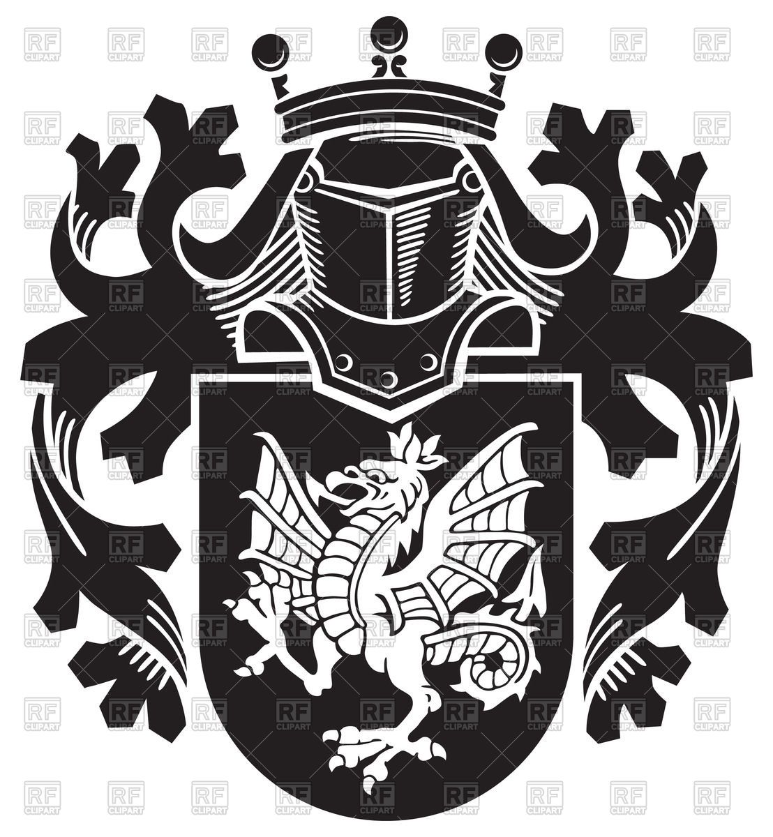 knightly royal coats  arms  dragon medieval