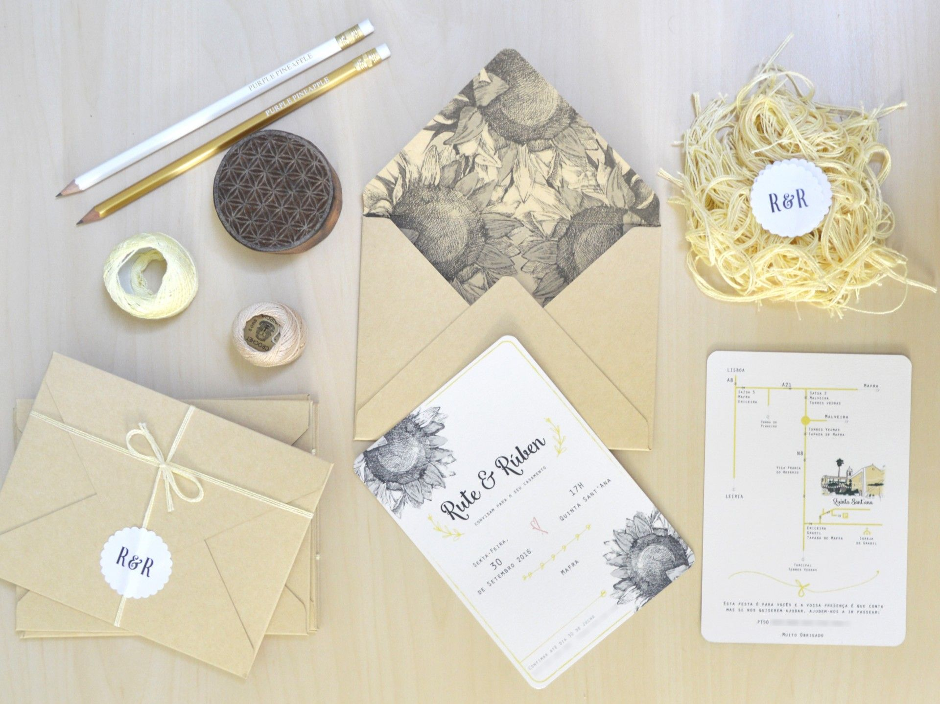Rustic Sunflower wedding stationery with sunflower illustration