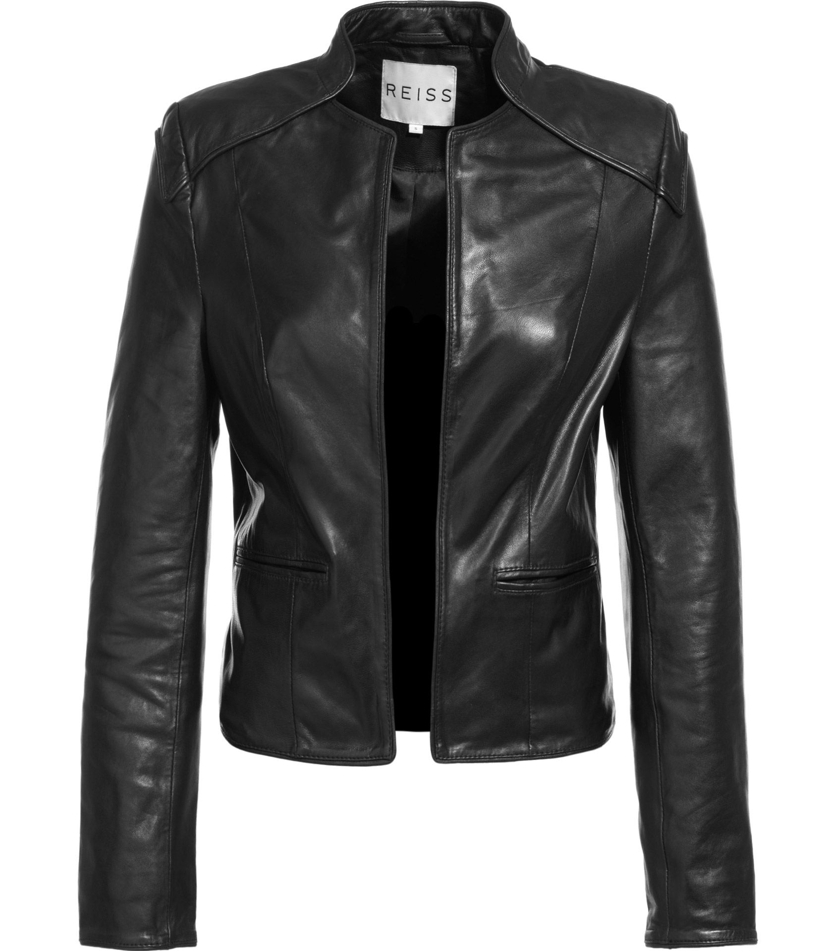 Gorgeous Reiss Leather Jacket Collarless Leather Jacket Leather Jacket [ 1918 x 1673 Pixel ]