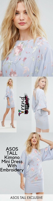 60e346cef1101 ASOS TALL Kimono Mini Dress With Embroidery £60.00 Free Shipping ...