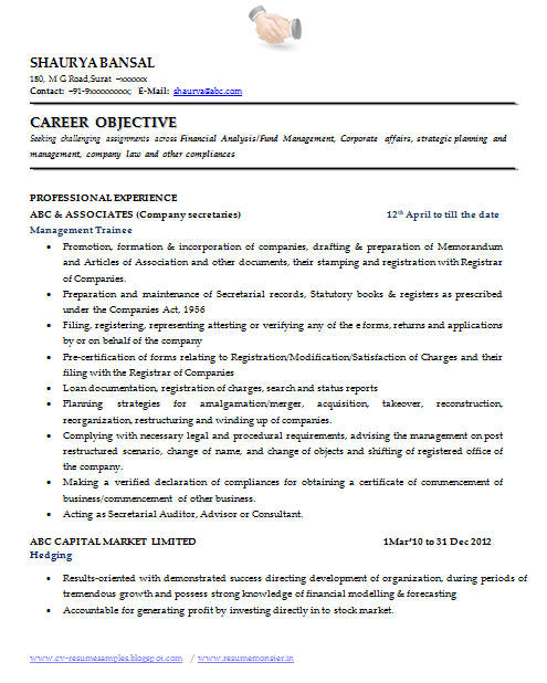 Good Career Objective Resume Simple Sample Template Of An Excellent Company Secretary Resume Sample With .