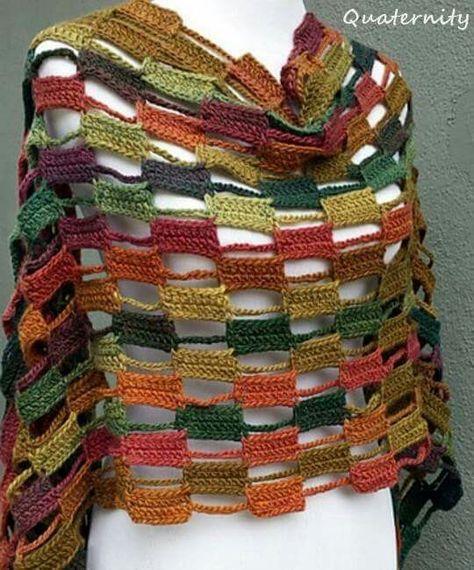 Crochet poncho Multicolor Cape | | Accessorize | Pinterest | Chal ...