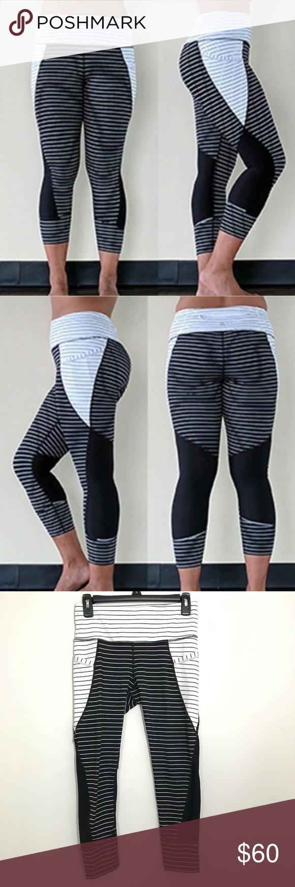 15e09cc9614a9 NWOT Athleta Black/White Relay Stripe Leggings - Recycled Polyester/Lycra®  Spandex -