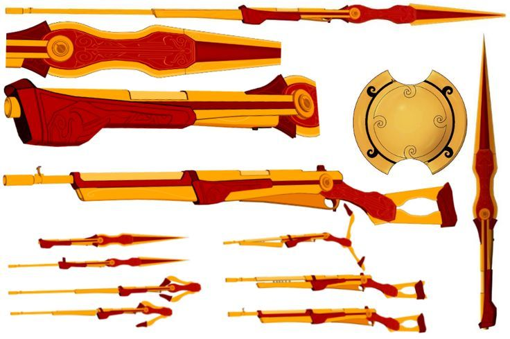 "miss-nerdgasmz: "" Full Reference of Pyrrha Nikos and her weapons, Miló (The Javelin/Xiphos/Rifle) and Akuó (Shield) compiled from Monty's facebook Her symbol (credit to hjpenndragon, here:... <3"