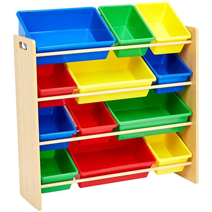 Amazon Com Amazonbasics Kids Toy Storage Organizer Bins Natural