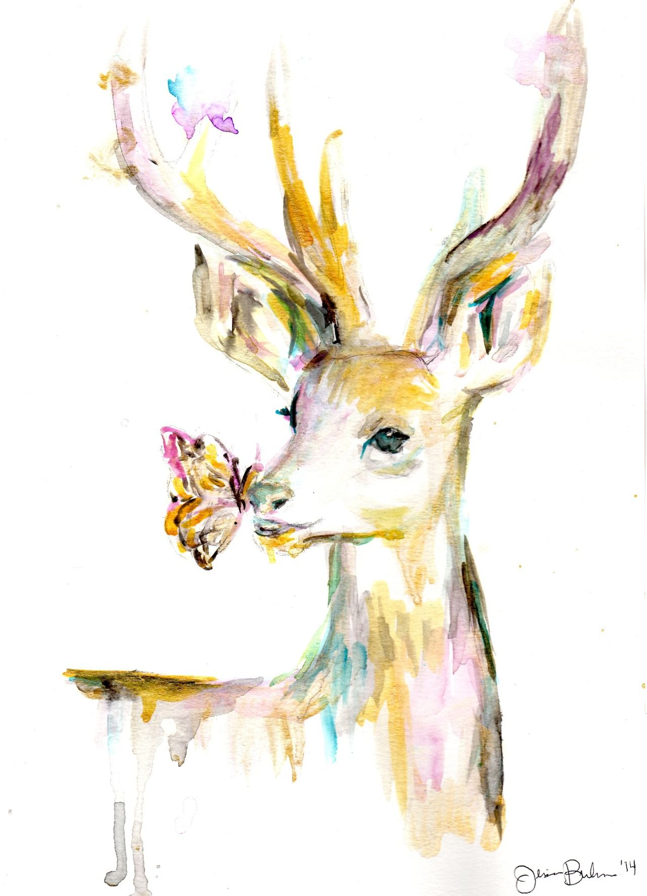 Beautiful Use Of Watercolor Deer Painting Deer Art