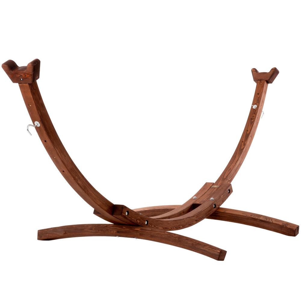 Vivere 10 Ft Solid Pine Arc Hammock Stand In Brown 10spas The Home Depot In 2020 Hammock Stand Wooden Hammock Stand Hammock