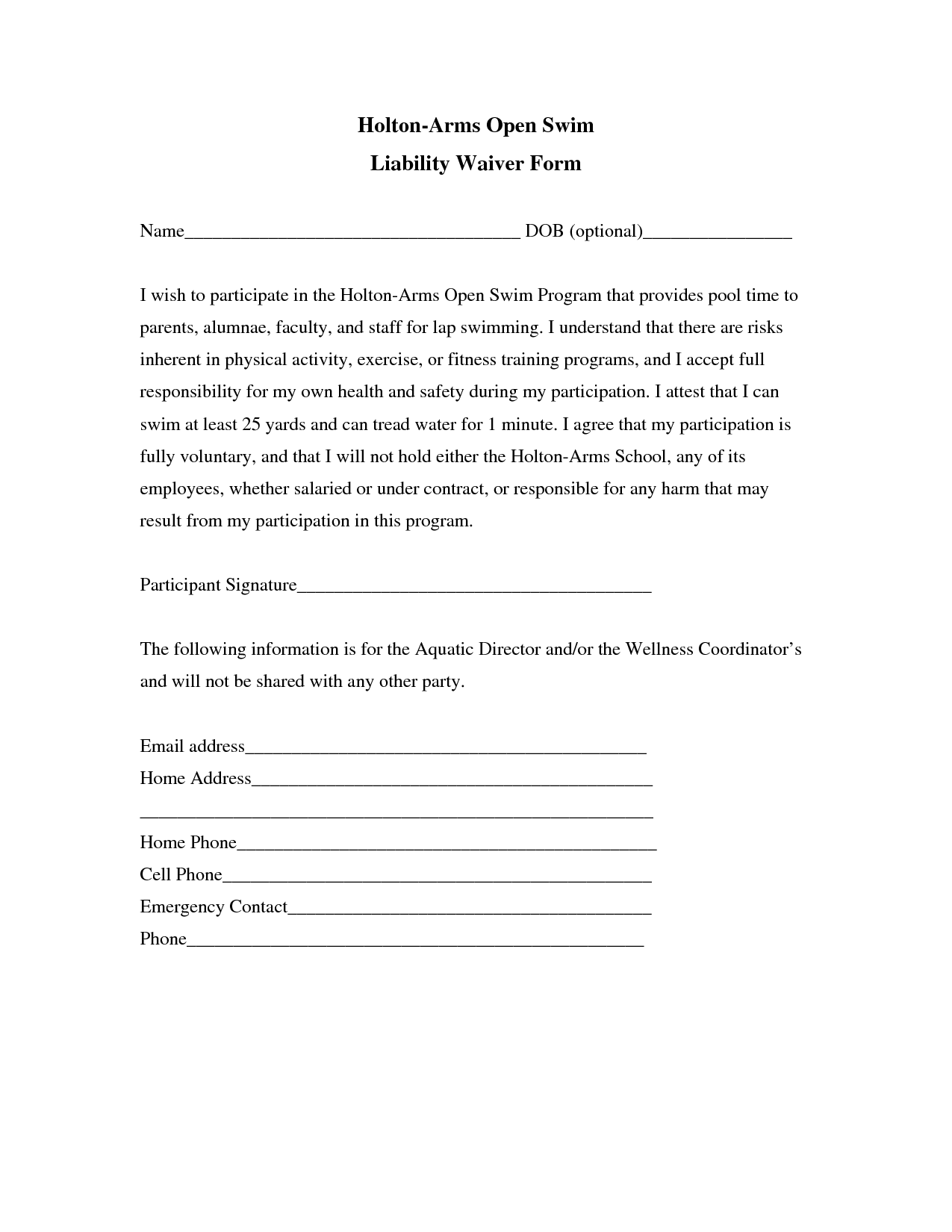 Liability insurance liability insurance waiver template for Participation waiver template