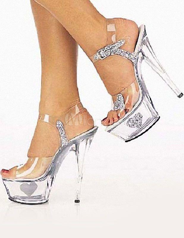 Sandalias transparentes de tacón stiletto - Milanoo.com c2264e23518