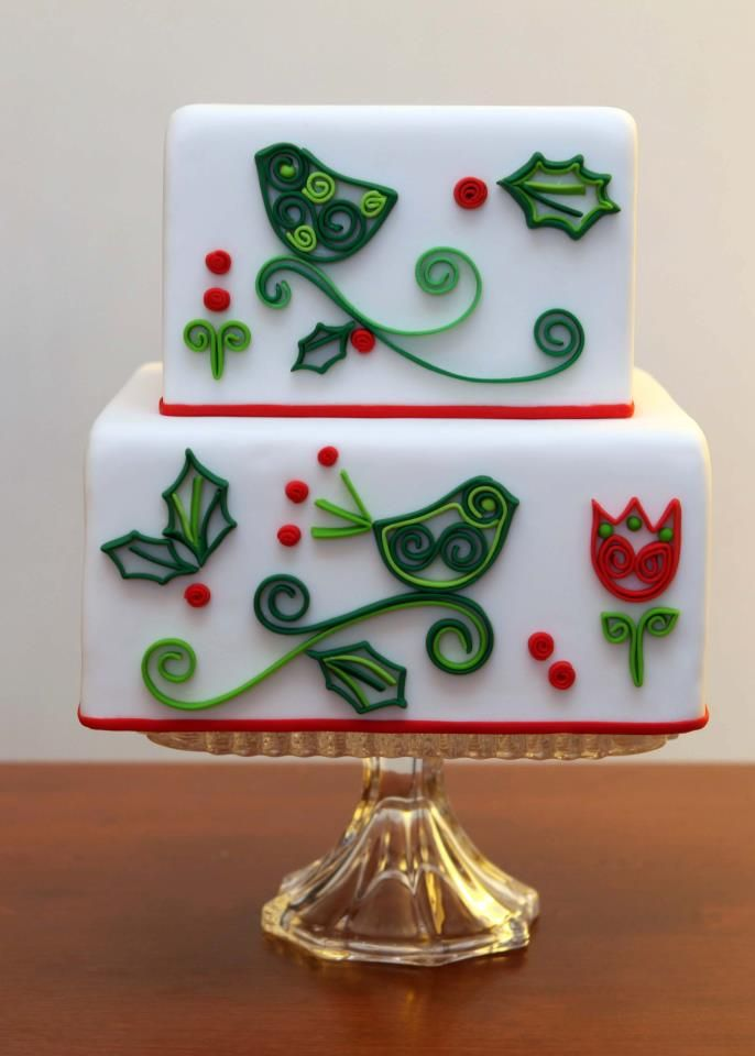 Quilled fondant Christmas cake