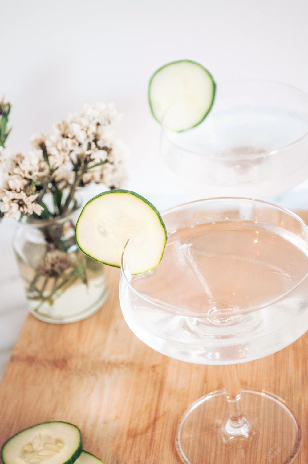 A twist on the classic gin and tonic with cucumber and rose
