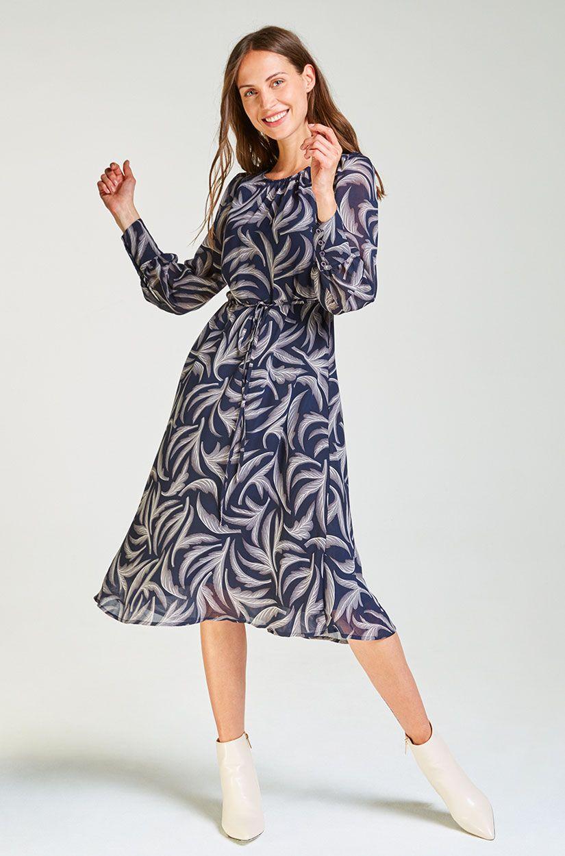 Langarm Midi-Kleid mit Muster | Kleider, Konfektion und Muster
